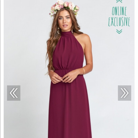 Show Me Your MuMu Dresses & Skirts - Collette Collar Merlot Chiffon SMYMM